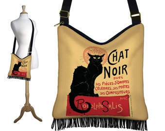Bohemian Gypsy Bag,  Le Chat Noir Cross Body Hobo Bag, Boho Fringe Purse, Hippie Bag, Crossbody Bag, Fabric Handbag, Black Cat Lover MTO