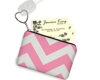 CLEARANCE Pink Chevron Business Card Holder  Credit Card Case  Fabric Pouch Key Fob Small Zipper Bag Change Purse Key Chain pink white  RTS