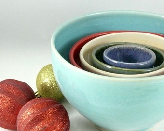 Five Stacking Bowls - Ceramic Nesting Bowls  - Set of five bowls in fiesta colors - Serving Bowls - Kitchen Decor