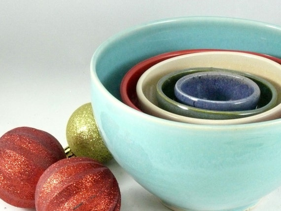 Five Stacking Bowls - Ceramic Nesting Bowls  - Set of five bowls in fiesta colors - Serving Bowls - Kitchen Decor