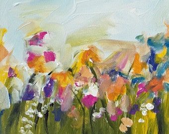 landscape painting, flower field of flowers, small landscape, green and yellow pink flowers