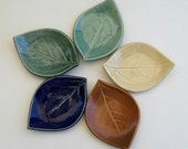 Ceramic Leaf Plates, Set of Five, Hand Built, Persimmon Leaf, multi color glaze.