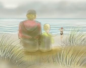 greetings card: 'The Watchers on the Beach', sea swimmer, on the Norfolk coast