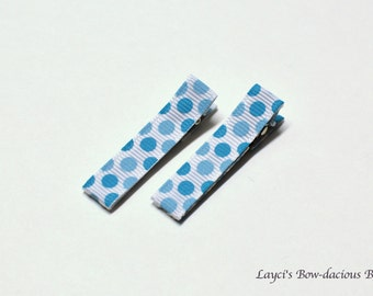 Blue and White Polka Dot Hair Clips, no slip clips, baby girl clips, toddler clips