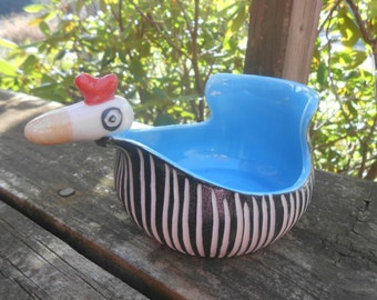 Modern chick bowl BLUE black white