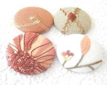 Rust mix embroidered fabric buttons, size 75 buttons