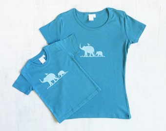 Mommy and Me organic cotton t shirt set with elephants - Womens and Toddler T shirts - Blue