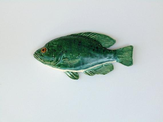 Rock bass ceramic fish art decorative wall hanging for Rock bass fish