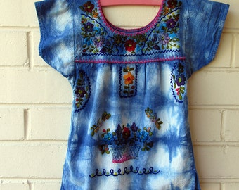 Girls Indigo Dyed Vintage Mexican Peasant Embroidered Top. Girls Size 4 or 5