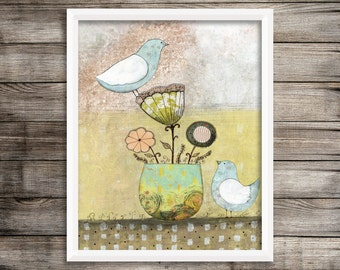 Bird Art Print, Bird Painting Reproduction , Flower Art, Giclee Print , Whimsical Mixed Media Art, Canvas Art