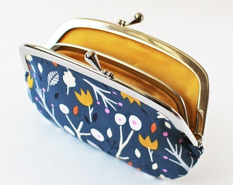 Coin purse / wallet kiss lock change purse - flowers and twigs on blue mustard yellow white orange floral botanical frame pouch