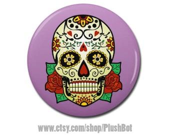 "Sugar Skull 1.25"" or 2.25"" Pinback Pin Button Badge or Day of the Dead Jewelry Art Design Gift Dia De Los Muertos"