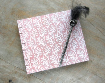 7x8 Wedding Guest Book, Pink Coral, unlined torn pages, Ready to ship
