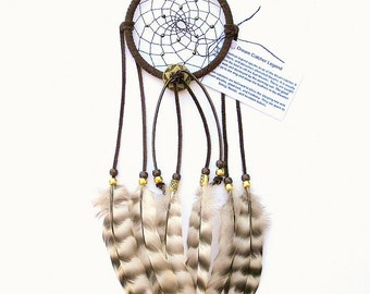 Dark Brown Dream Catcher, Barred Rock Hen Feathers