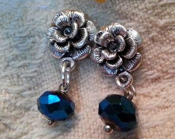 Sterling silver 925  POST flower earrings with crystal drop (dark blue tone glass)