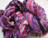 Curly Handspun Yarn, Super Bulky - PASSION FRUIT  - Border Leicester Wool Locks, Art Waldorf Doll Hair Knitting Crochet Weaving