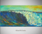 "60"" Seascape Abstract Art Painting Wave Original Artwork by BenWill"
