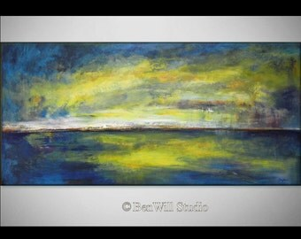 "72"" Abstract Art Blue Textured Painting Original Large Wall Art  HORIZON Oil Painting 72x36 by BenWill"
