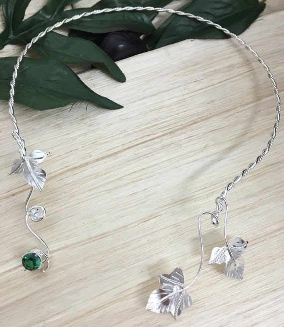 Waldorf Leaf Neck Torc  Sterling Silver with Lab Emerald
