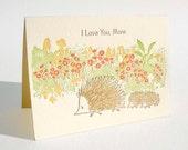 "Hedgehogs  ""I love you, mom"" letterpress card"