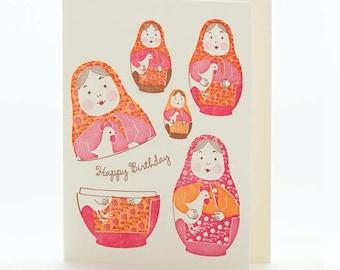 A2-112 Nesting Dolls Happy Birthday -- Note Card