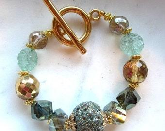 CIJ 35% OFF Green Crystal Toggle Bracelet. Olive Green. Celedon Green Bracelet. Gold Toggle. Gifts for Her. Under 50.