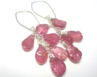 Pink Sapphire Cluster Earrings. Genuine Raw Pink Sapphires. Sterling Silver.