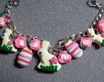 Easter Candy White Chocolate Bunny Polymer Clay Pink Roses Charm Bracelet WC6
