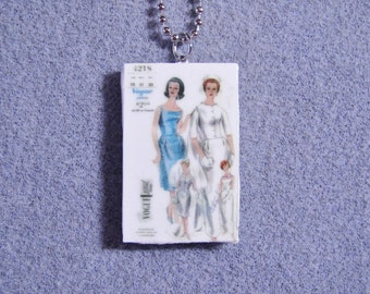 Retro Kitsch Sewing Pattern Wedding Dress Gown 1960s Polymer Clay Necklace 4218