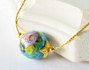 Small Blue Japanese Rose Tensha Bead Gold Slider Necklace, Small Beaded Floral Slider Gold Necklace