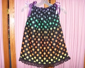 Rainbow Polka Dot Print Toddler Dress or Girl's Tunic Top ONE SIZE Fits All from 18 months to girl's 10