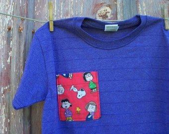 Child Size Small Purple Stripe T-Shirt with Cartoon Pocket