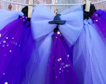 Size 2T-6 Purple Halloween Tutu with Matching Witch Hat Hair Bow