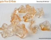 50% OFF 12 Czech Glass Beads Trumpet Champagne Luster 8x13mm