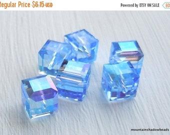 50% OFF SALE 6mm Swarovski Crystal 5601 Light Sapphire AB Cube Beads 6 pcs