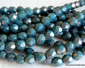 6mm Persian Turquoise Bronze Picasso - 25 Czech Glass Beads (G - 42)