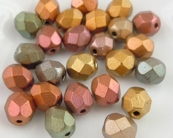 Czech Glass Bead 6mm Smooth Round Bead - Metallic Bronze Iris - 25 (G- 508)