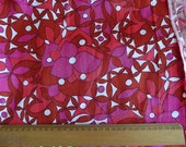 Vintage Fabric - vibrant red, pink, maroon and white floral cotton/polyester - a  fabric fat quarter