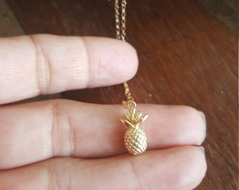 Pineapple Necklace, Gold Pineapple Necklace, Hawaiian Pineapple Necklace, Friendship Necklace