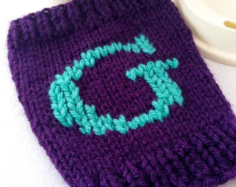 Teal Purple Monogram Cup Cozie - Personalized Gift - Initial Cup Cozy- Coffee Sleeve - Reusable Coffee Cup Sleeve - Knit Cup Cozy