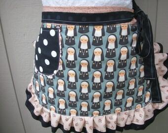 Aprons - Womens Half Aprons - Nun Aprons - Nun Fabric Apron - Aprons with Nuns - Handmade Apron - Annies Attic Aprons - Black Aprons