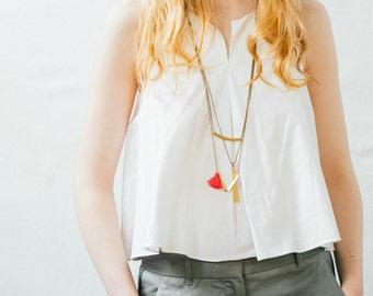 Geometric Necklace Set of Three, Brass Pendant Necklace Set of Three, Modern Pendant Necklace Set,