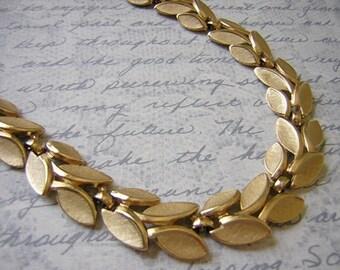 Vintage Signed Trifari Brushed Gold tone Leaf Necklace