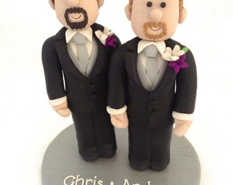Gay Cake Topper - Groom & Groom Topper - His and His - Bride and Bride Topper - Same Sex Wedding Top - 2 Grooms Cake top- 2 Brides Cake Top