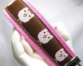 Keychain Pink Owls Wristlet Keychain Key Fob