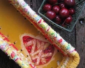 BAKERY SHOPPE SERIES  textile art Basket tray  Cherry Pie