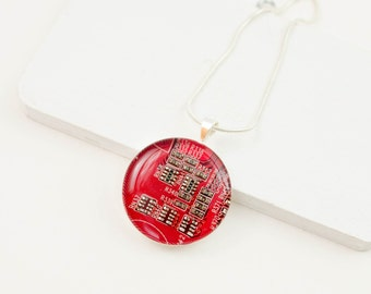 Circuit Board Necklace Red - Recycled Computer Jewelry - Geek Gift for Her - Computer Jewelry