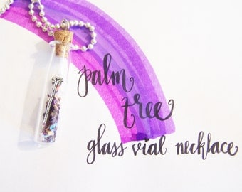 Tiny Palm Tree in Glass Vial Purple Glitter