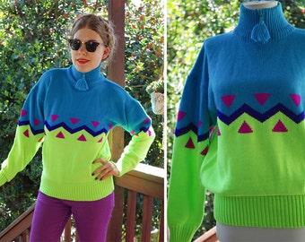 ZIGZAG 1980's 90's Vintage Bright Blue + Neon Green Color Block Wool Acrylic SKI Sweater // size Medium // by Sport OBERMEYER
