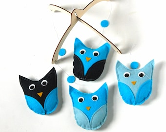 Baby Mobile  Nursery Decor- Bright Blue Wool Felt Owls